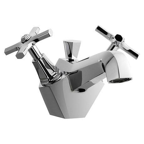 Crosswater - Waldorf Art Deco Crosshead Monobloc Basin Mixer with Pop-up Waste - WF110DPC+