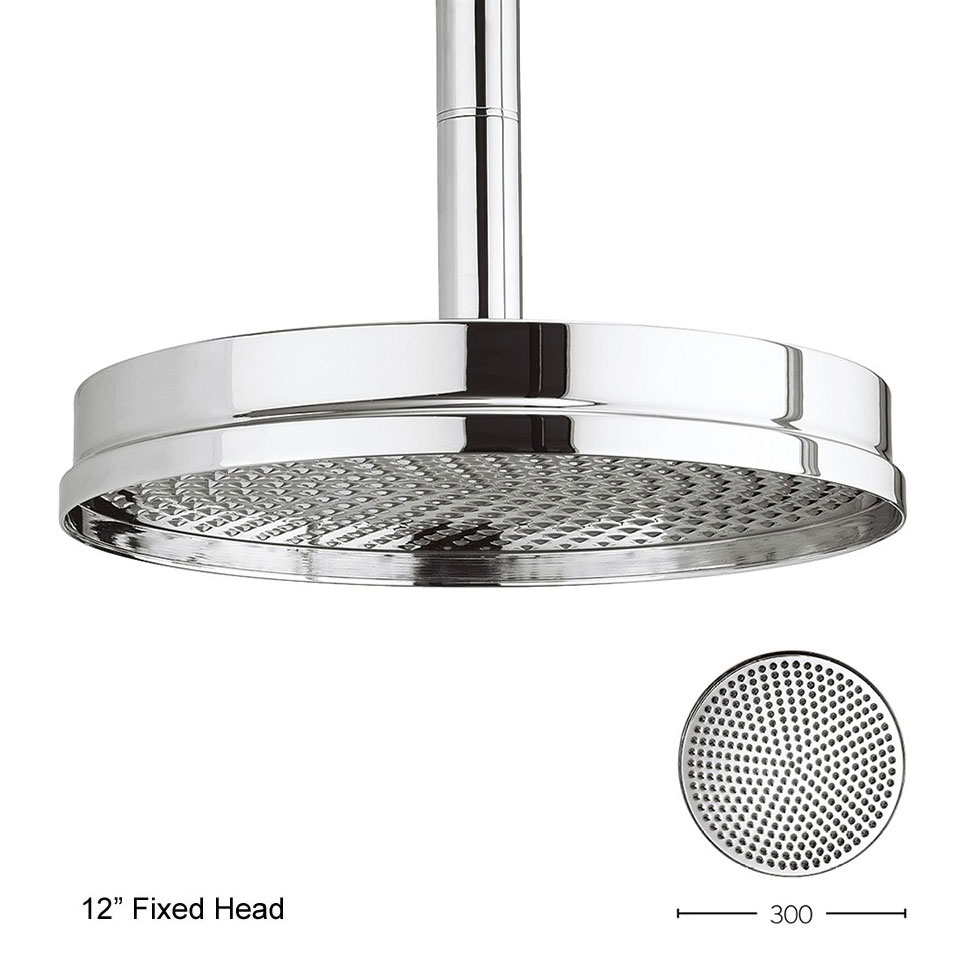 Crosswater - Waldorf Art Deco Chrome Lever Thermostatic Shower Valve with Fixed Head, Slider Rail & Handset profile large image view 5