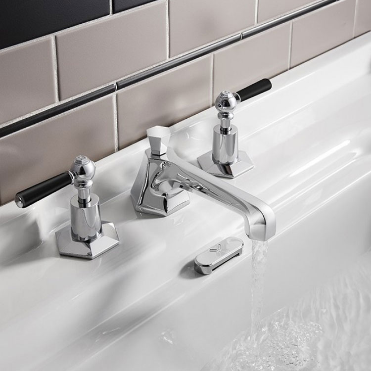 Crosswater - Waldorf Art Deco Black Lever 3 Tap Hole Basin Mixer - WF130DPC_BLV Profile Large Image