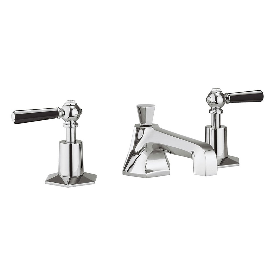 Crosswater - Waldorf Art Deco Black Lever 3 Tap Hole Basin Mixer - WF130DPC_BLV profile large image view 1