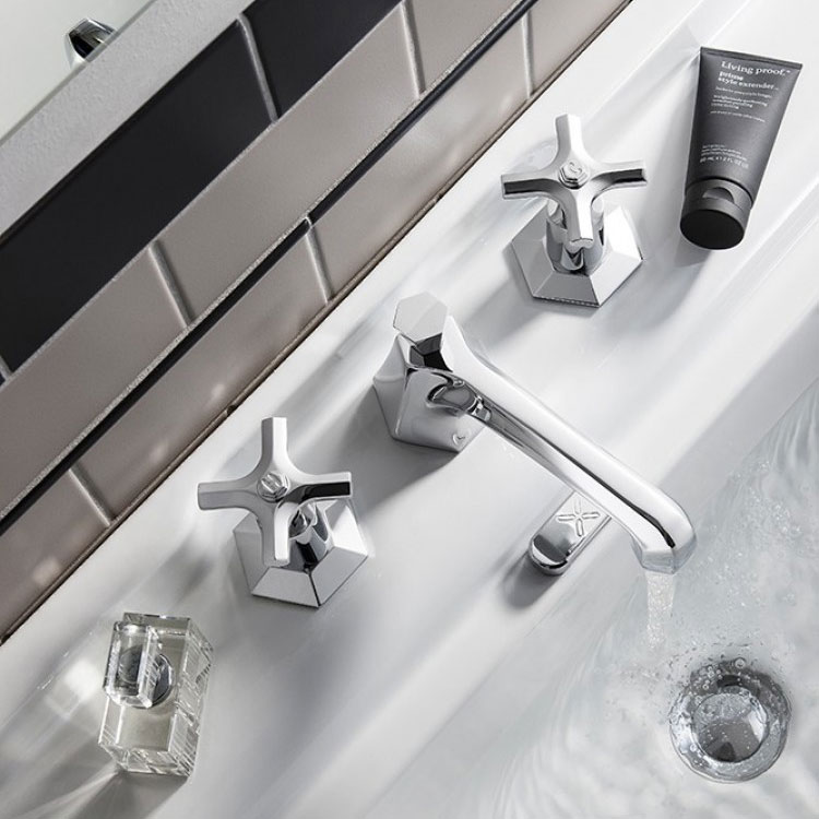 Crosswater - Waldorf Art Deco Crosshead 3 Tap Hole Basin Mixer - WF130DPC profile large image view 2