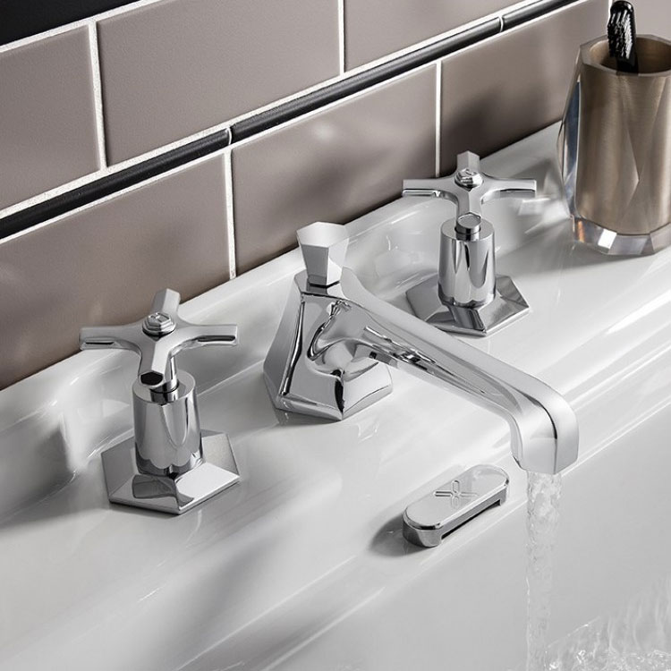 Crosswater - Waldorf Art Deco Crosshead 3 Tap Hole Basin Mixer - WF130DPC profile large image view 3