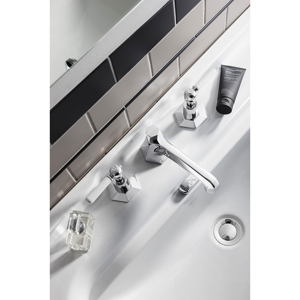 Crosswater - Waldorf Art Deco White Lever 3 Tap Hole Basin Mixer - WF130DPC_LV profile large image view 2