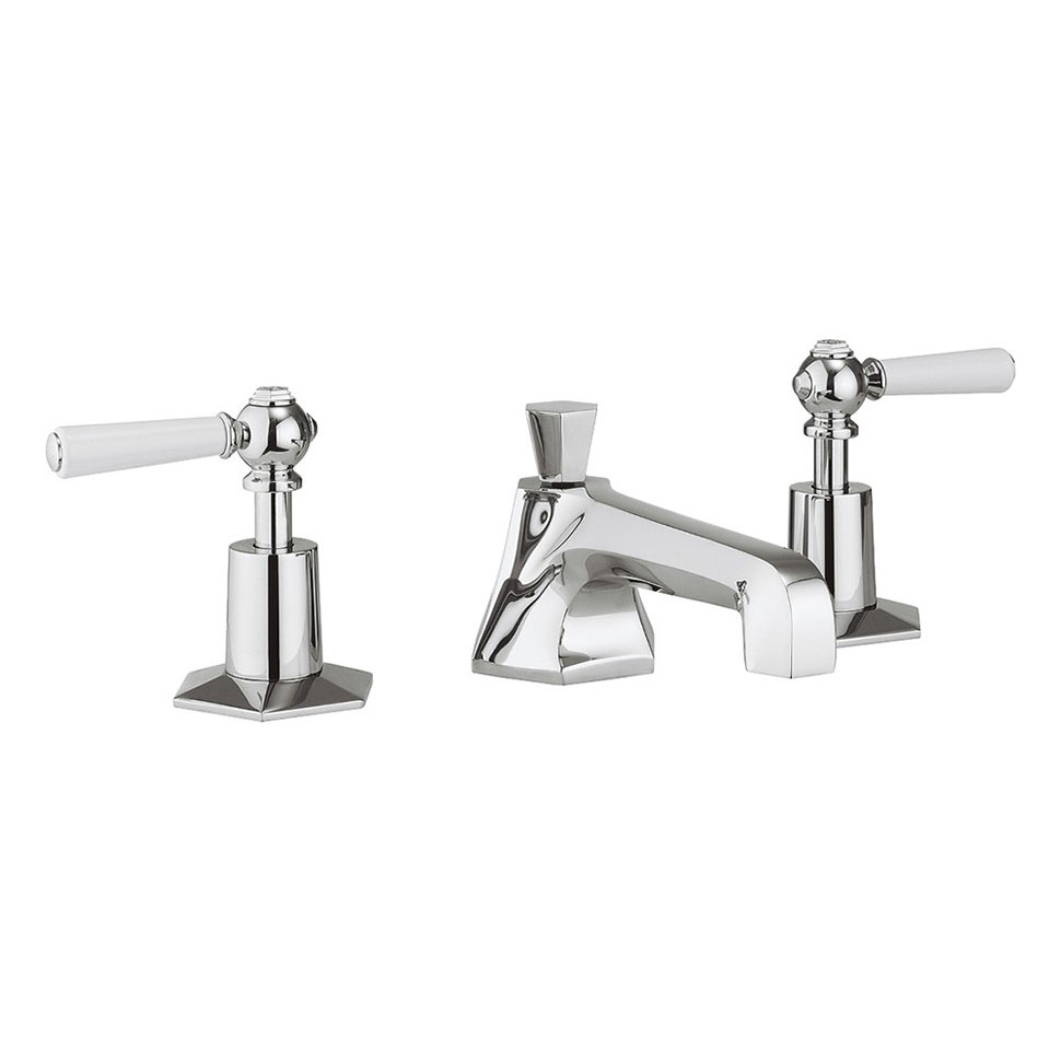 Crosswater - Waldorf Art Deco White Lever 3 Tap Hole Basin Mixer - WF130DPC_LV profile large image view 1