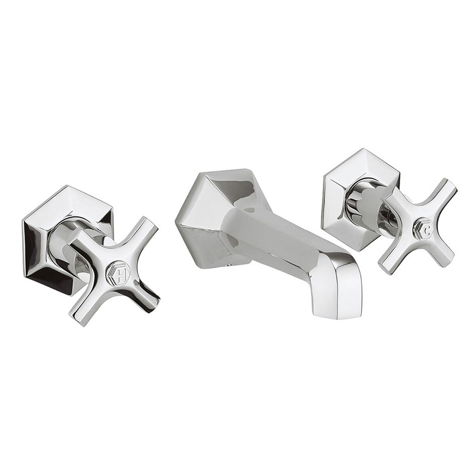 Crosswater - Waldorf Art Deco Crosshead Wall Mounted 3 Hole Set Basin Mixer - WF131WNC profile large image view 1