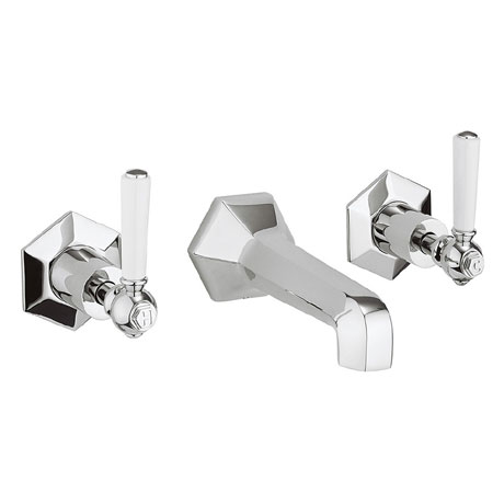 Crosswater - Waldorf Art Deco White Lever Wall Mounted 3 Hole Set Basin Mixer - WF131WNC_LV