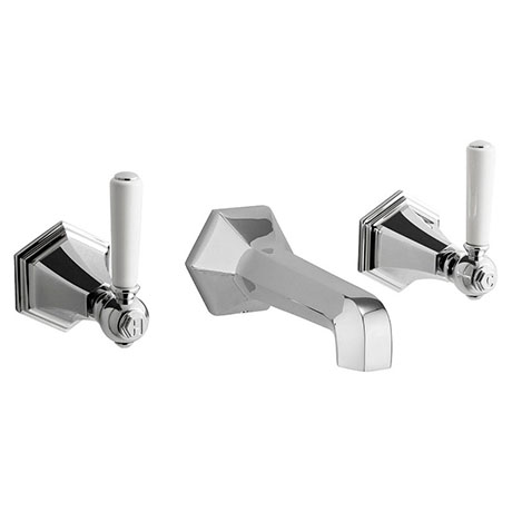 Crosswater - Waldorf Art Deco White Lever Wall Mounted 3 Hole Set Basin Mixer - WF131WNC_LV+