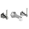 Crosswater - Waldorf Art Deco White Lever Wall Mounted 3 Hole Set Basin Mixer - WF131WNC_LV+ profile small image view 1