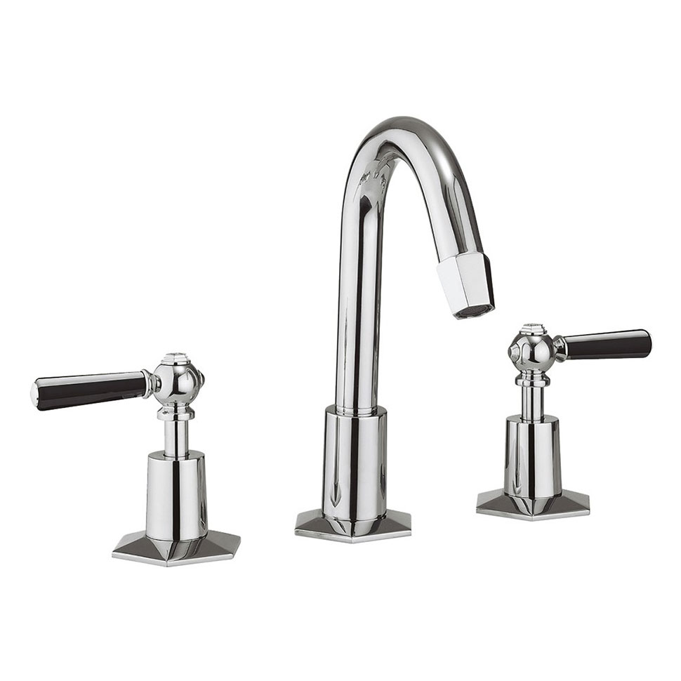 Crosswater - Waldorf Art Deco Black Lever 3 Tap Hole Tall Basin Mixer with Pop-up Waste - WF135DPC_BLV Large Image