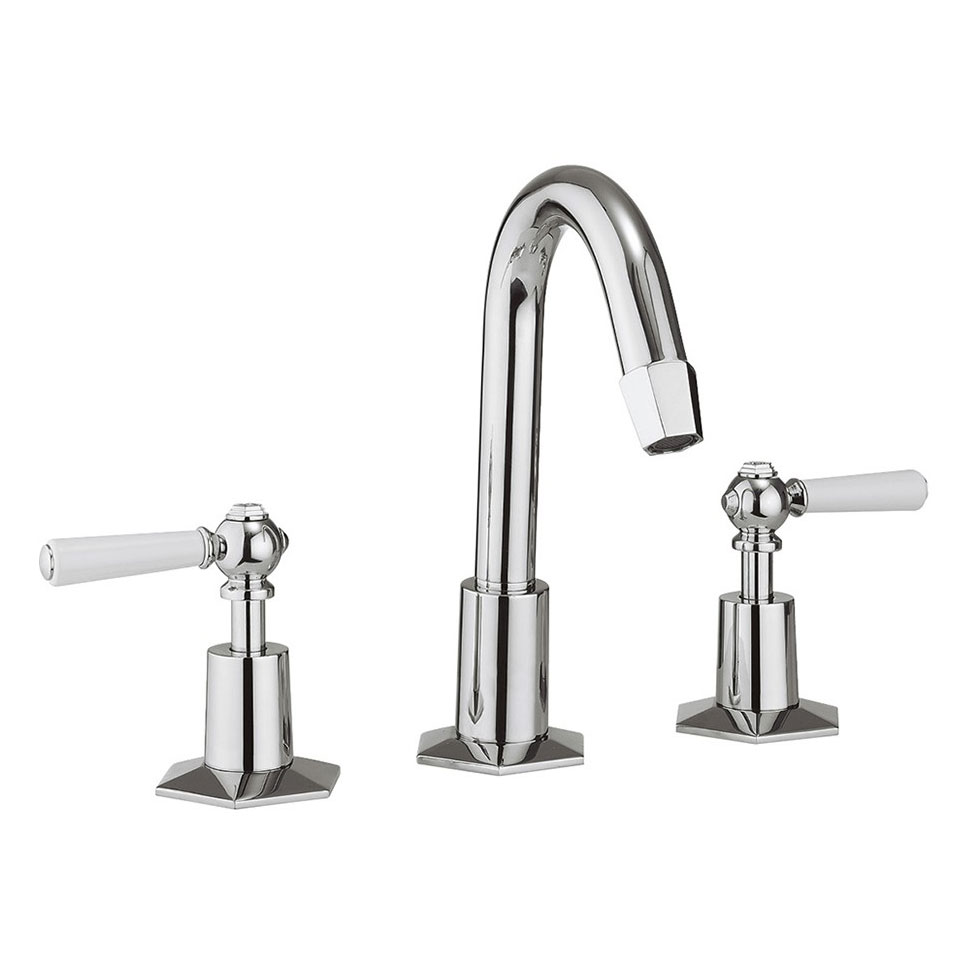Crosswater - Waldorf Art Deco White Lever 3 Tap Hole Tall Basin Mixer with Pop-up Waste - WF135DPC_LV profile large image view 1