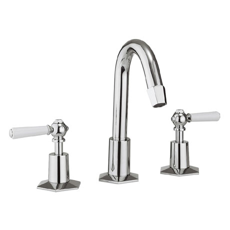 Crosswater - Waldorf Art Deco White Lever 3 Tap Hole Tall Basin Mixer with Pop-up Waste - WF135DPC_LV