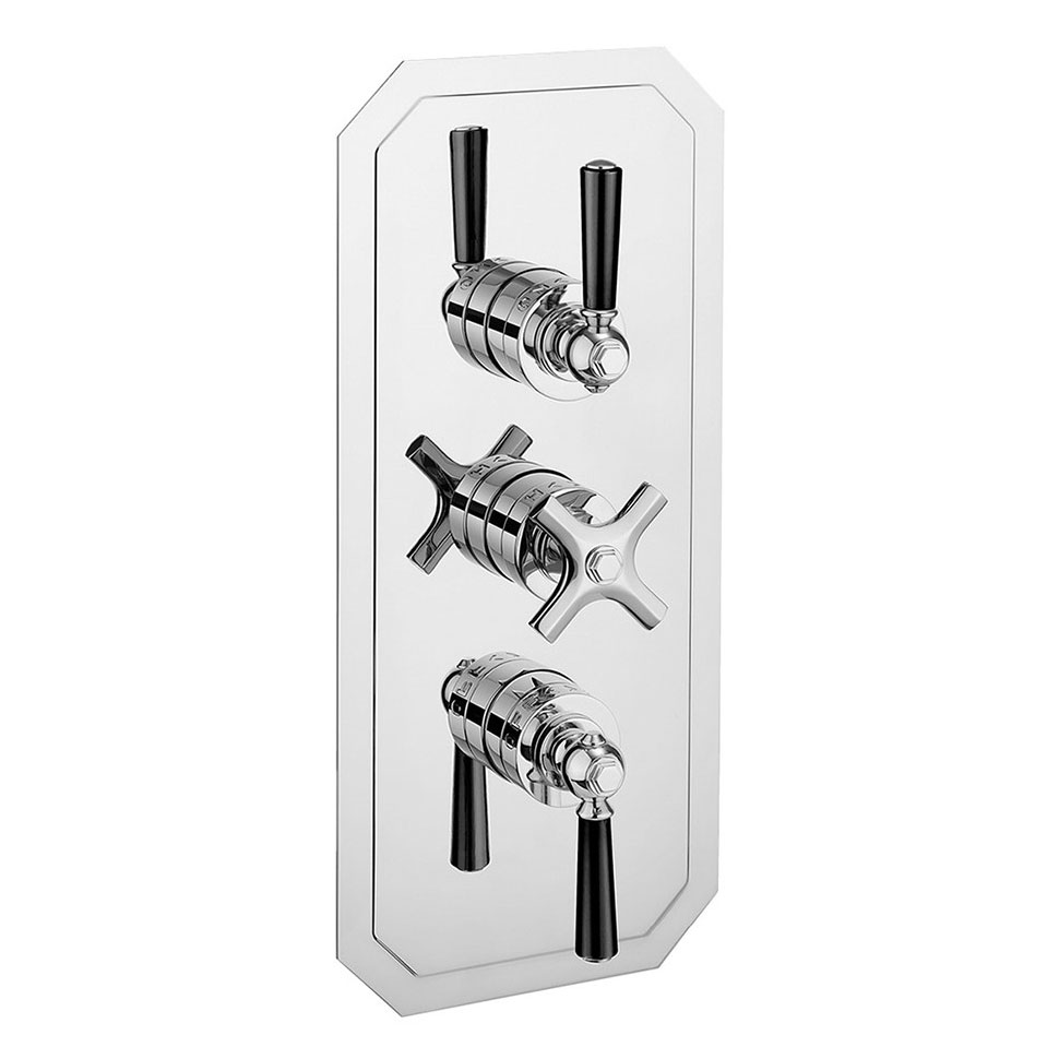 Crosswater - Waldorf Art Deco Black Lever Triple Thermostatic Shower Valve with 3 Way Diverter - WF3000RC_BLV+ profile large image view 1