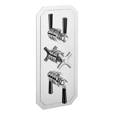 Crosswater - Waldorf Art Deco Black Lever Triple Thermostatic Shower Valve with 3 Way Diverter - WF3