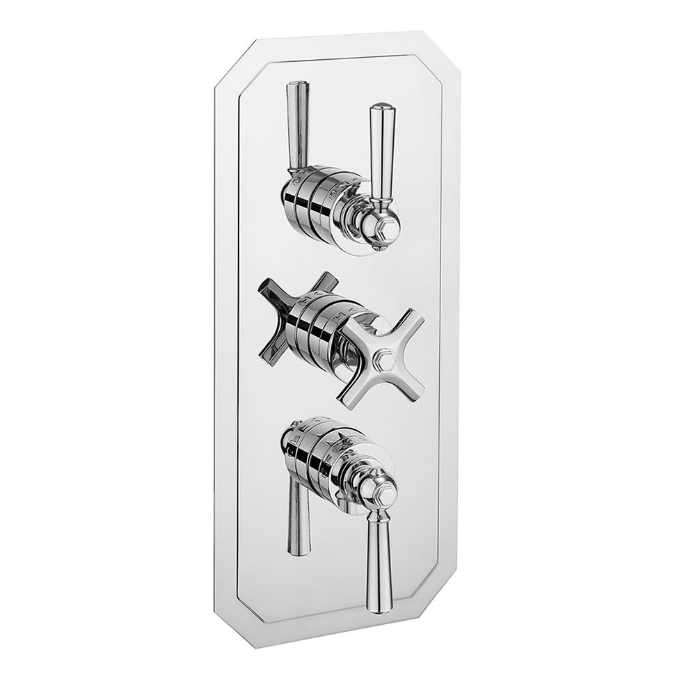 Crosswater - Waldorf Art Deco Chrome Lever Triple Thermostatic Shower Valve with 3 Way Diverter - WF3000RC_CLV+ profile large image view 1