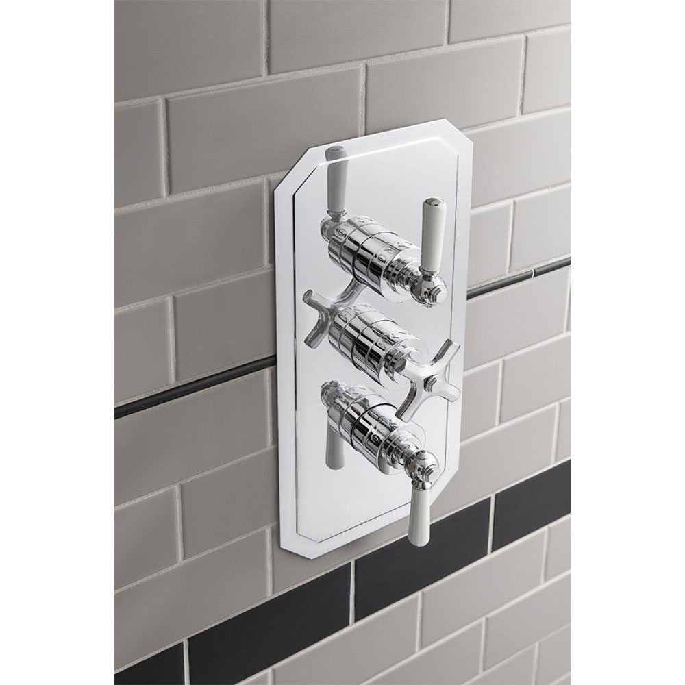 Crosswater - Waldorf Art Deco White Lever Triple Thermostatic Shower Valve with 3 Way Diverter - WF3000RC_LV+ Profile Large Image