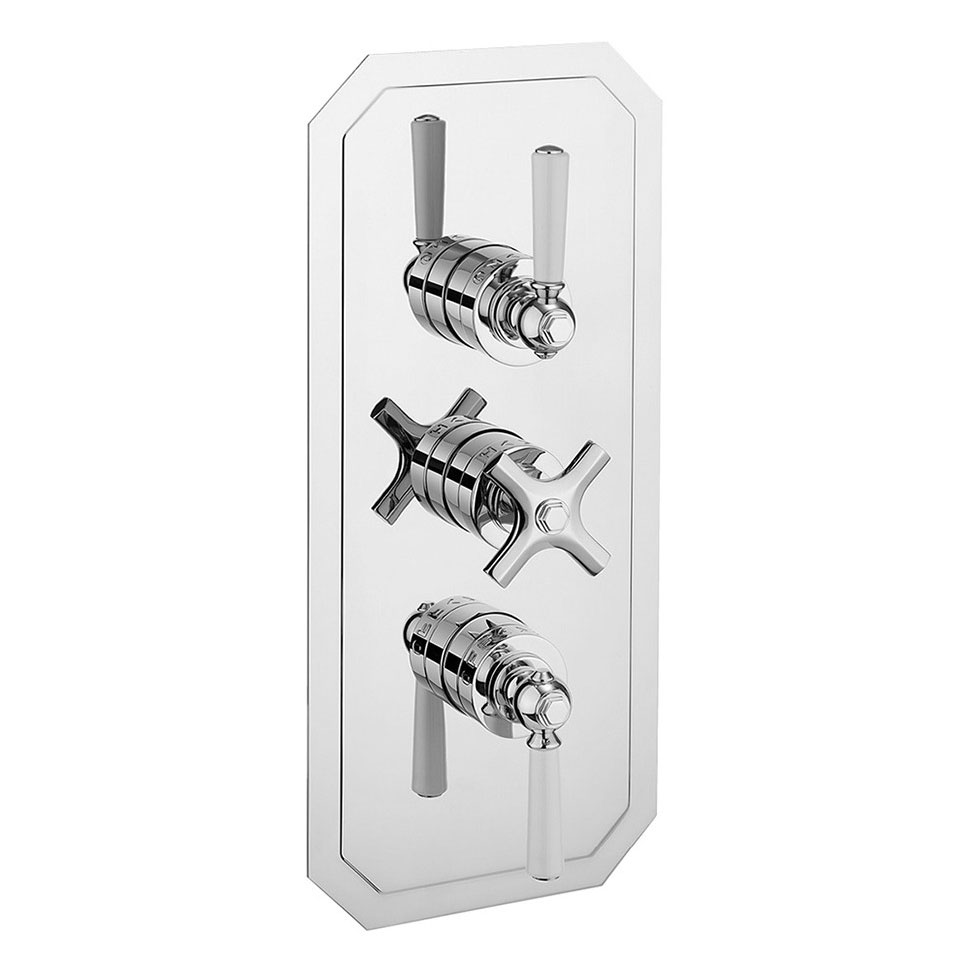 Crosswater - Waldorf Art Deco White Lever Triple Thermostatic Shower Valve with 3 Way Diverter - WF3000RC_LV+ Large Image