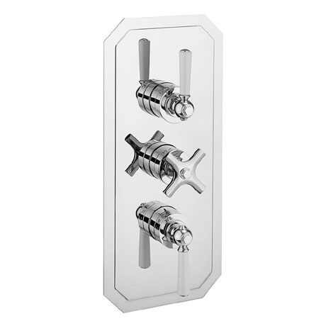 Crosswater - Waldorf Art Deco White Lever Triple Thermostatic Shower Valve with 3 Way Diverter - WF3