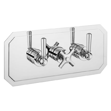 Crosswater - Waldorf Art Deco Chrome Lever Triple Thermostatic Shower Valve with 3 Way Diverter - La