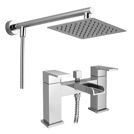 Plaza Waterfall Bath Shower Mixer Inc. Overhead Rainfall Shower Head