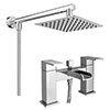 Monza Waterfall Bath Shower Mixer inc. Overhead Rainfall Shower Head profile small image view 1