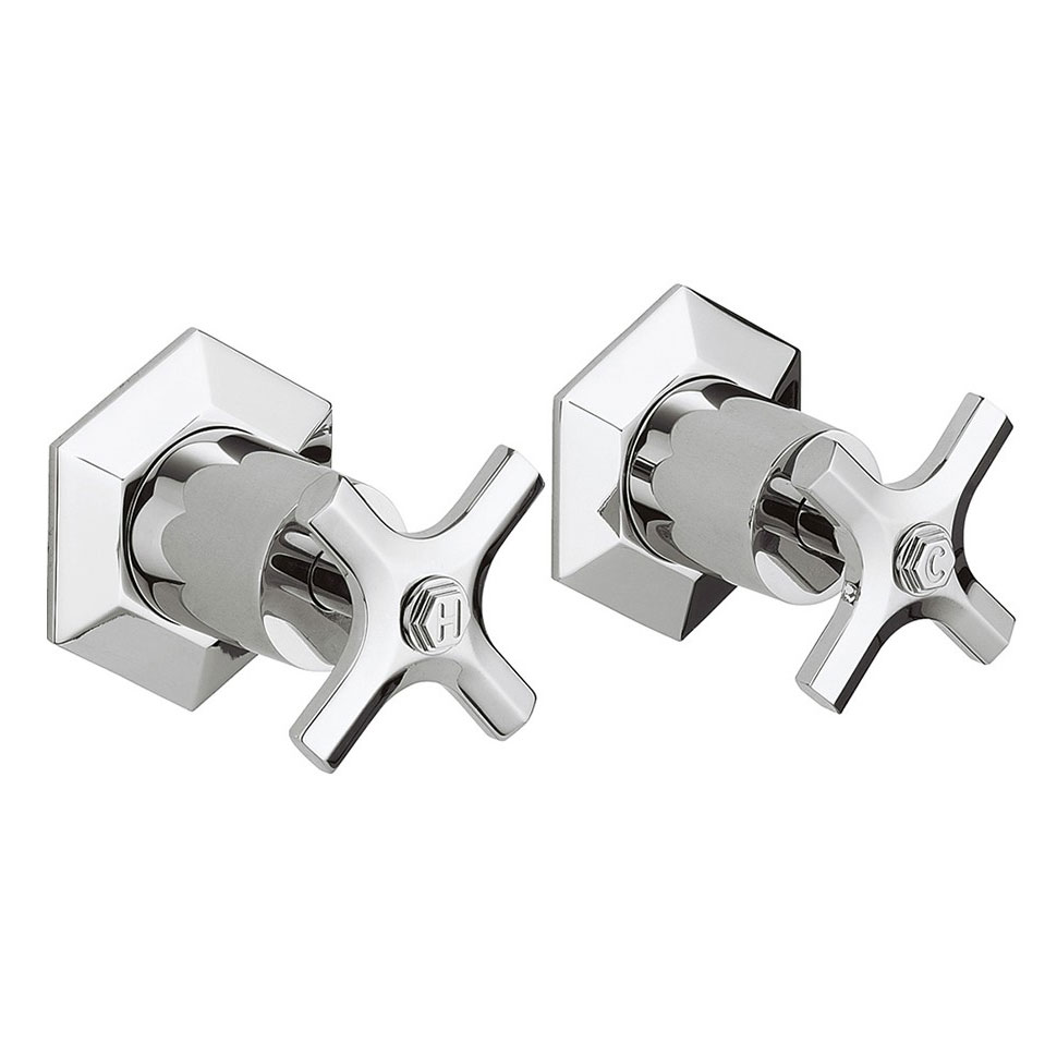 Crosswater - Waldorf Art Deco Crosshead Wall Stop Taps - WF350WC Large Image