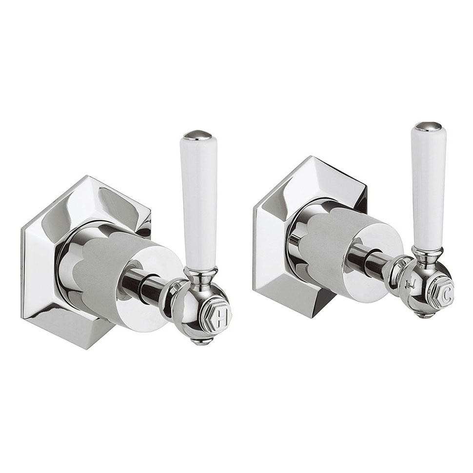 Crosswater - Waldorf Art Deco White Lever Wall Stop Taps - WF350WC_LV Large Image