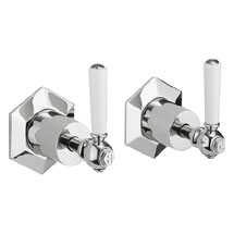 Crosswater - Waldorf Art Deco White Lever Wall Stop Taps - WF350WC_LV Medium Image