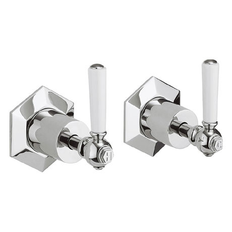 Crosswater - Waldorf Art Deco White Lever Wall Stop Taps - WF350WC_LV