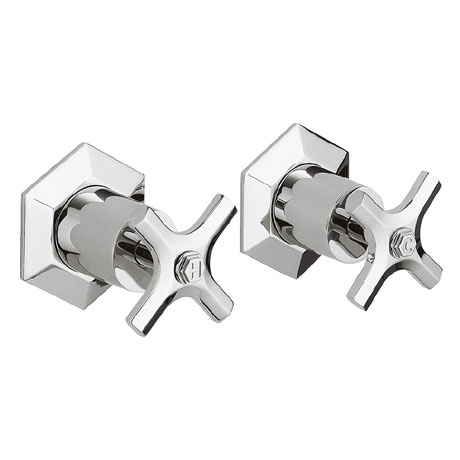 Crosswater - Waldorf Art Deco Crosshead Wall Stop Taps - WF350WC