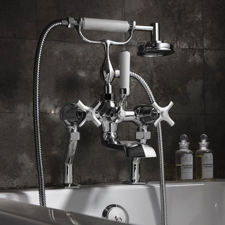 Crosswater - Waldorf Art Deco Crosshead Bath Shower Mixer with Kit - WF422DC profile large image view 2