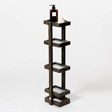 Wooden Freestanding Storage Shelves Dark Oak