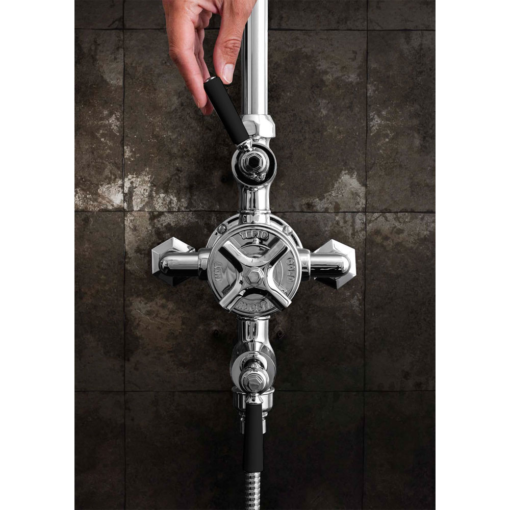 Crosswater - Waldorf Art Deco Black Lever Thermostatic Shower Valve with Fixed Head, Slider Rail & Handset profile large image view 5
