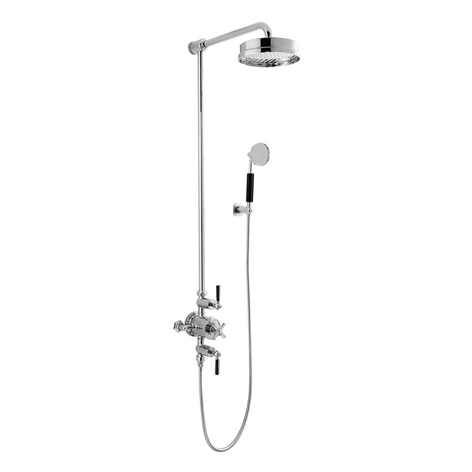 Crosswater - Waldorf Art Deco Black Lever Thermostatic Shower Valve with Fixed Head & Handset Large Image