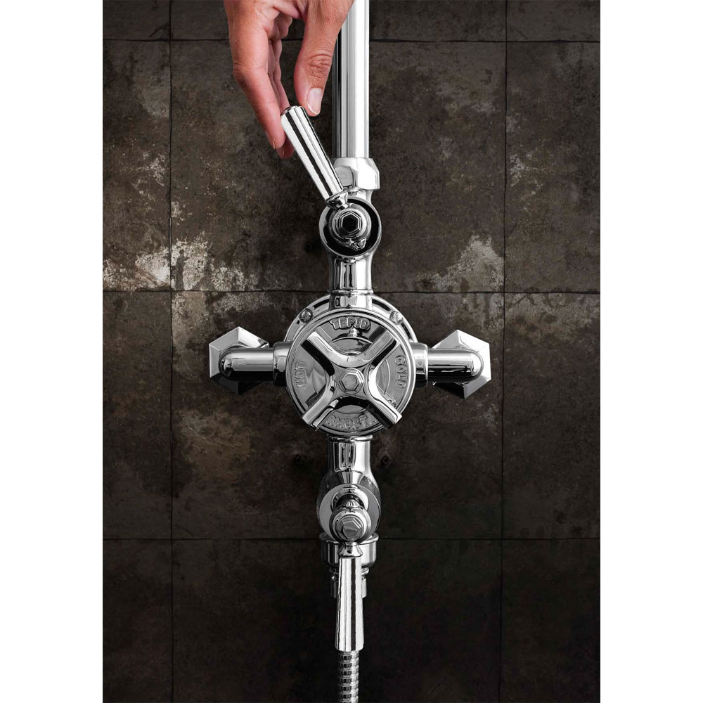 Crosswater - Waldorf Art Deco Chrome Lever Thermostatic Shower Valve with Fixed Head, Slider Rail & Handset Standard Large Image