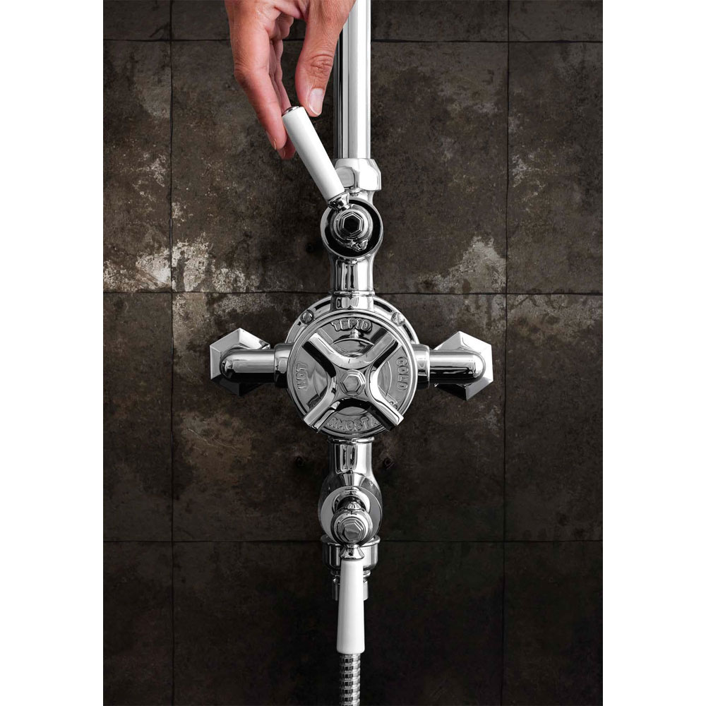 Crosswater - Waldorf Art Deco White Lever Thermostatic Shower Valve with Fixed Head & Handset Standard Large Image