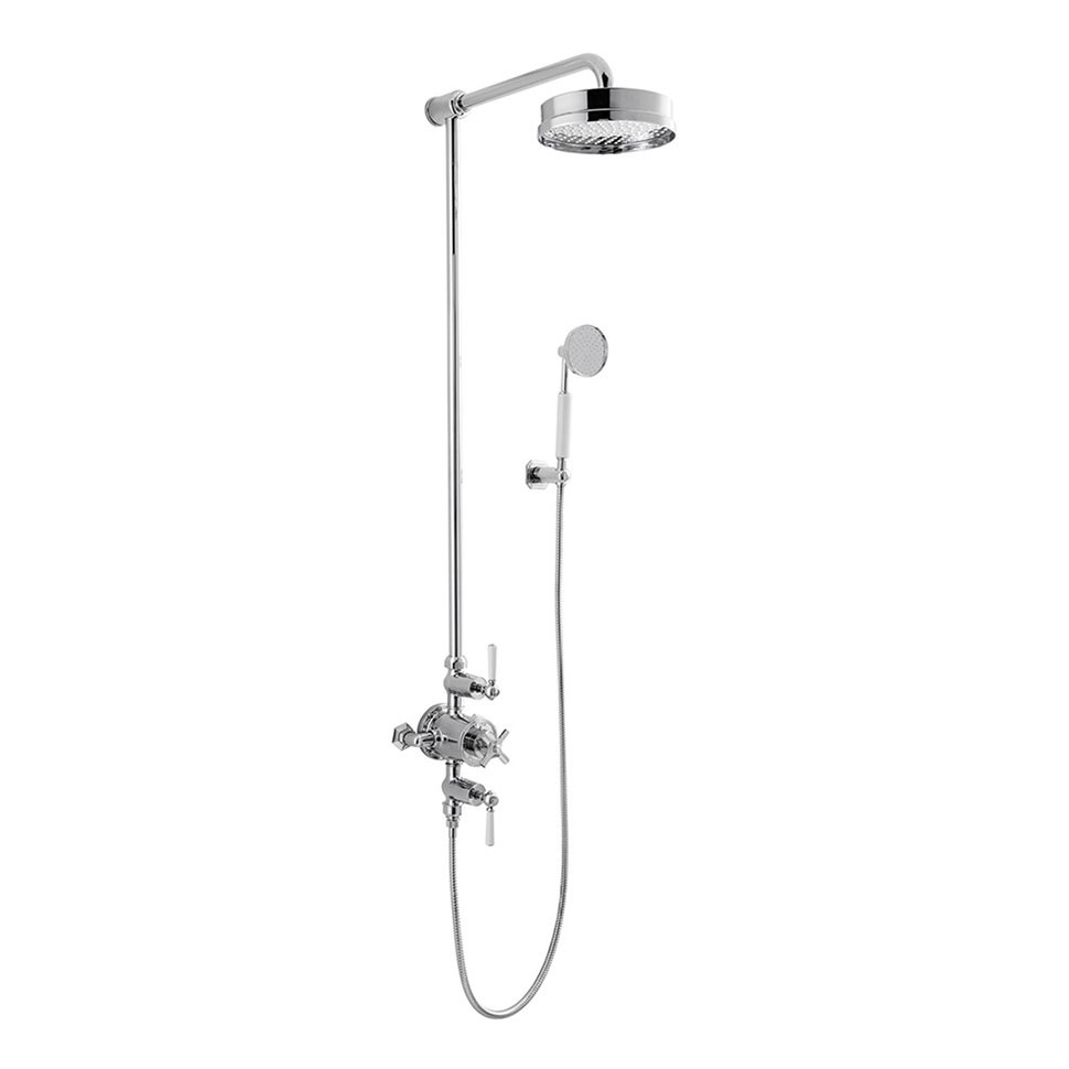 Crosswater - Waldorf Art Deco White Lever Thermostatic Shower Valve with Fixed Head & Handset Large Image