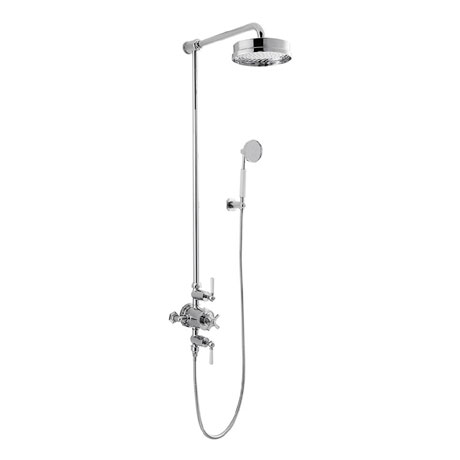 Crosswater - Waldorf Art Deco White Lever Thermostatic Shower Valve with Fixed Head & Handset