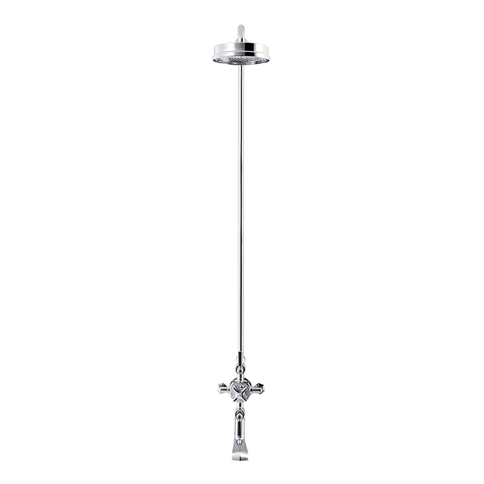 Crosswater - Waldorf Art Deco Black Lever Thermostatic Shower Valve with Fixed Head & Bath Spout Profile Large Image