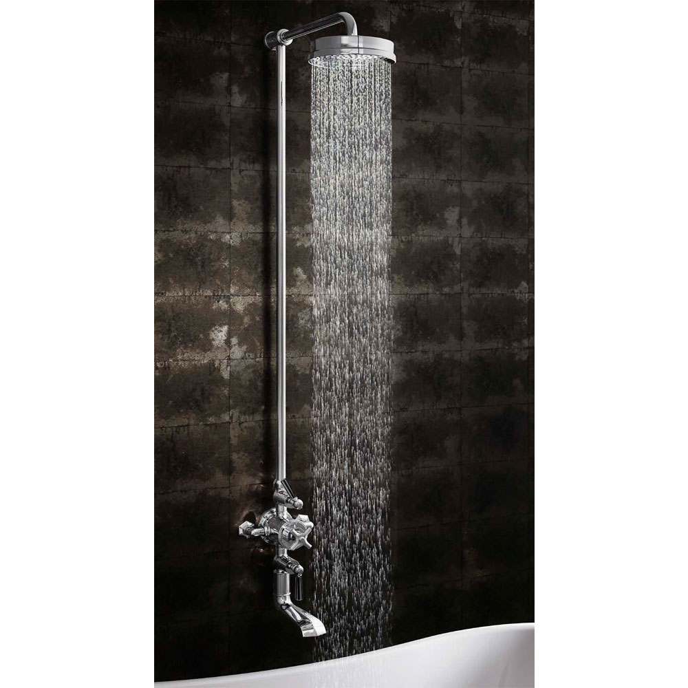 Crosswater - Waldorf Art Deco Black Lever Thermostatic Shower Valve with Fixed Head & Bath Spout Standard Large Image