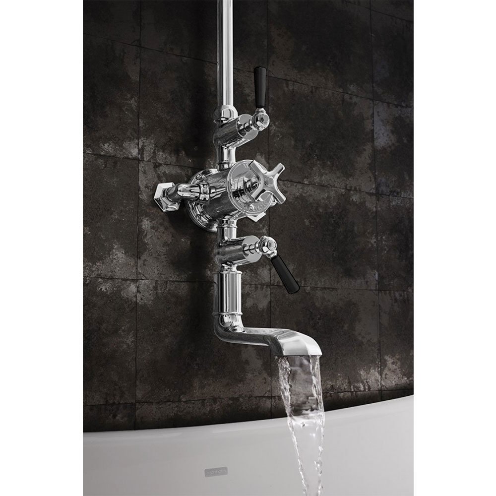 Crosswater - Waldorf Art Deco Black Lever Thermostatic Shower Valve with Fixed Head & Bath Spout Feature Large Image