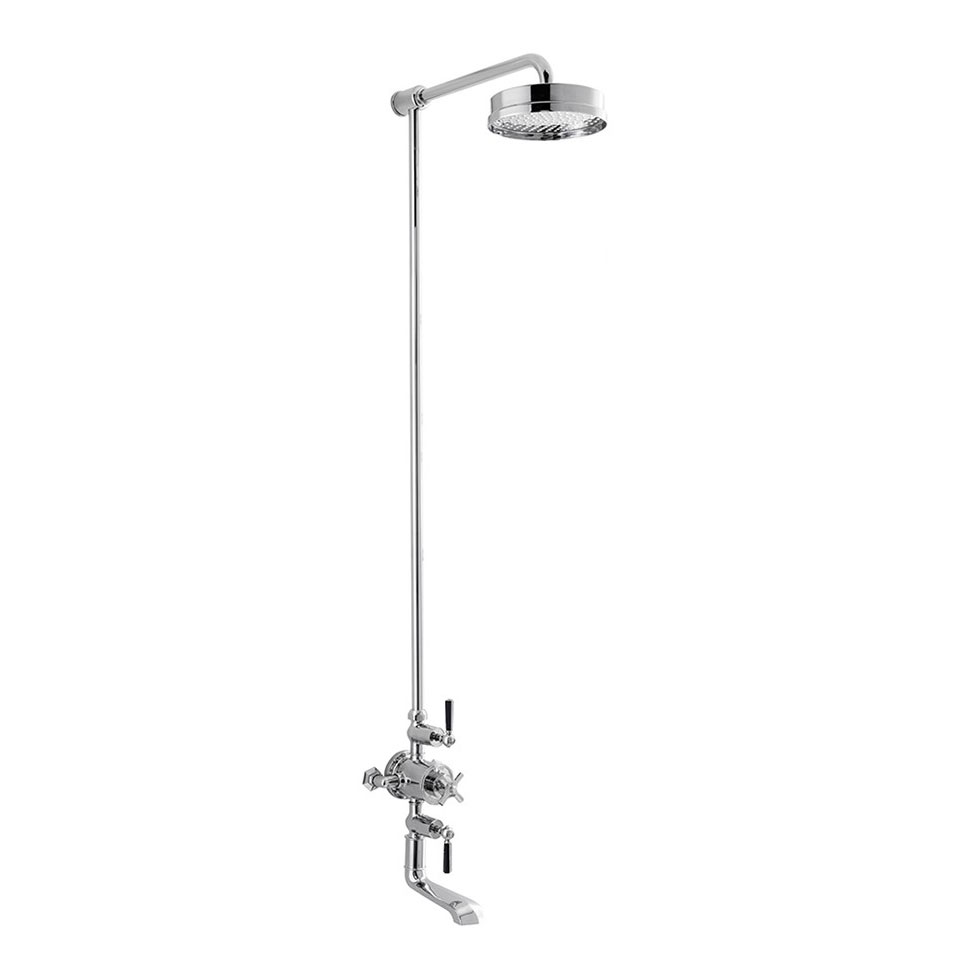 Crosswater - Waldorf Art Deco Black Lever Thermostatic Shower Valve with Fixed Head & Bath Spout Large Image