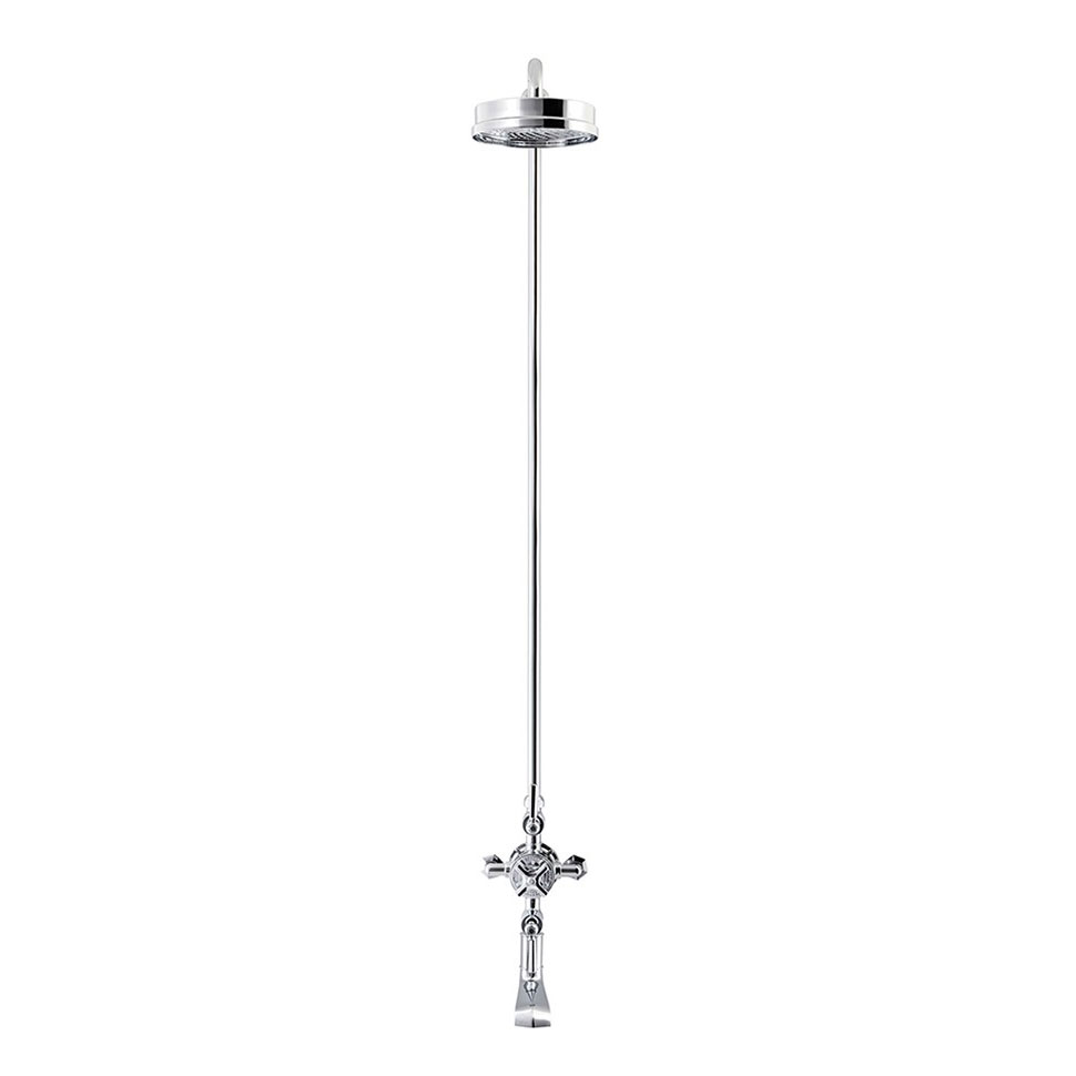 Crosswater - Waldorf Art Deco Chrome Lever Thermostatic Shower Valve with Fixed Head & Bath Spout Profile Large Image