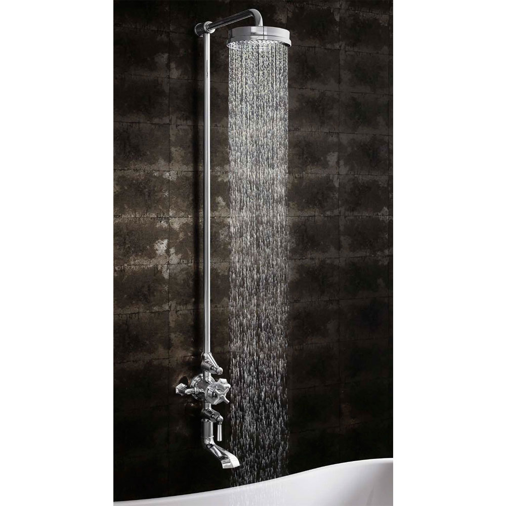 Crosswater - Waldorf Art Deco Chrome Lever Thermostatic Shower Valve with Fixed Head & Bath Spout Standard Large Image