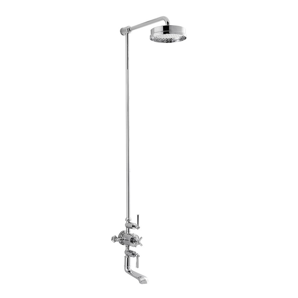 Crosswater - Waldorf Art Deco Chrome Lever Thermostatic Shower Valve with Fixed Head & Bath Spout Large Image