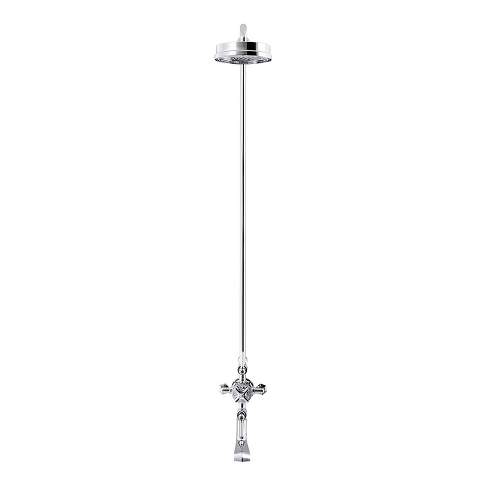Crosswater - Waldorf Art Deco White Lever Thermostatic Shower Valve with Fixed Head & Bath Spout profile large image view 2