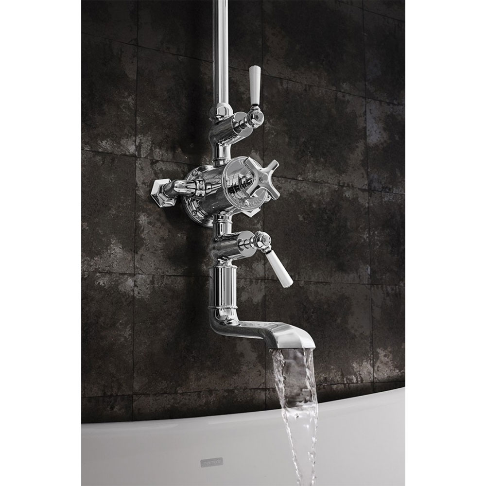 Crosswater - Waldorf Art Deco White Lever Thermostatic Shower Valve with Fixed Head & Bath Spout profile large image view 3