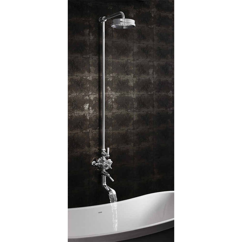Crosswater - Waldorf Art Deco White Lever Thermostatic Shower Valve with Fixed Head & Bath Spout profile large image view 4