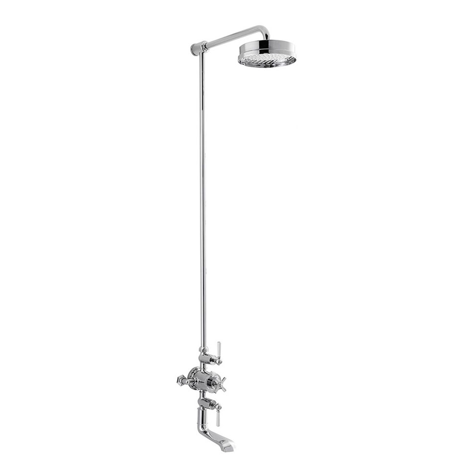 Crosswater - Waldorf Art Deco White Lever Thermostatic Shower Valve with Fixed Head & Bath Spout profile large image view 1