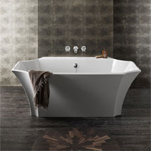Bauhaus Waldorf Art Deco Back to Wall Double Ended Bath (1645 x 895mm) Medium Image