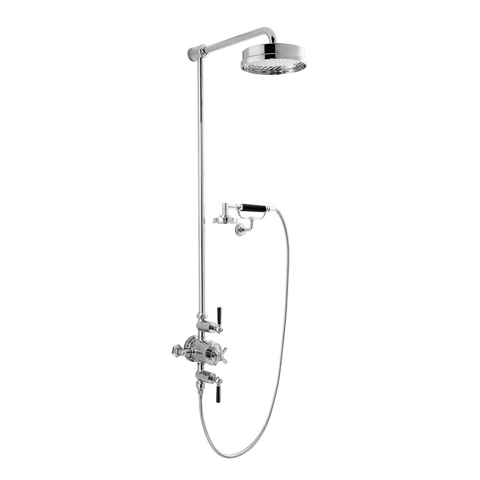 Crosswater - Waldorf Art Deco Black Lever Thermostatic Shower Valve with Fixed Head, Handset & Wall Cradle profile large image view 1